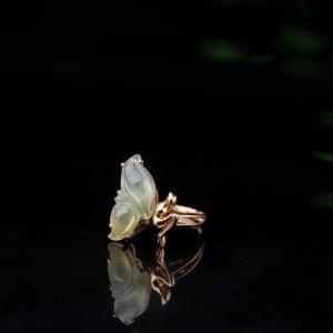 18K糯冰種飄黃翡翡翠戒指