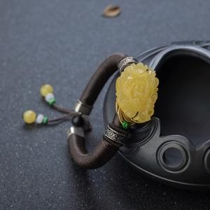 55.5mm雞油黃蜜蠟牡丹花手鐲