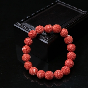MOMO珊瑚兽头珠单圈手串