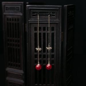 18K阿卡牛血红珊瑚圆珠耳坠