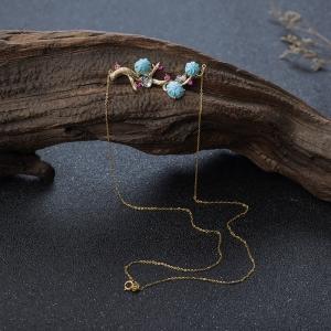18K高瓷浅蓝绿松石花项链