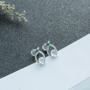 18K糯冰種翡翠耳釘