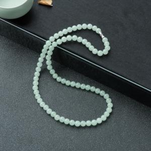 7mm糯冰种浅绿翡翠项链
