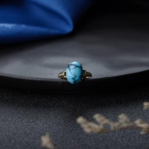 18K高瓷铁线蓝色绿松石戒指