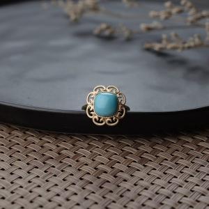 18K高瓷藍綠綠松石戒指