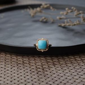 18K中高瓷铁线蓝绿绿松石戒指