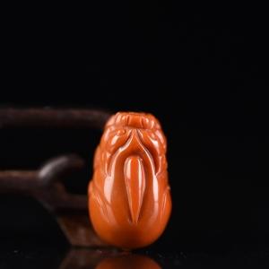 柿子红南红貔貅吊坠
