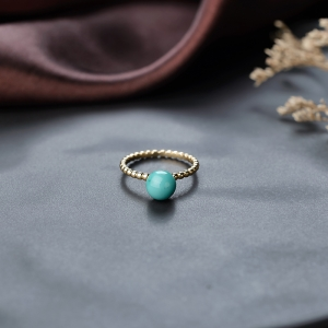 18K高瓷铁线蓝绿绿松石戒指