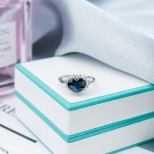 18K蓝紫色蓝宝石永恒之心戒指