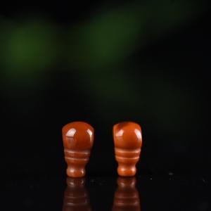 柿子红南红三通配件(二件)