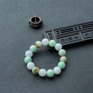 13mm糯冰种翡翠单圈手串