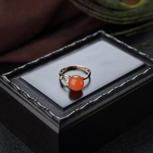 18K樱桃红南红圆珠戒指