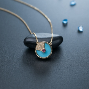 18K中高瓷蓝绿松石项链