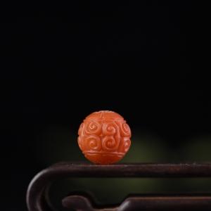 15mm柿子红南红回纹珠配件