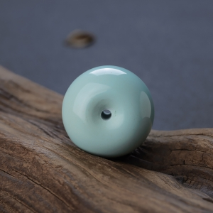 高瓷蓝绿绿松石平安扣吊坠