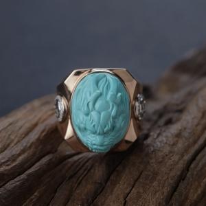 18K高瓷蓝绿绿松石龙头戒指