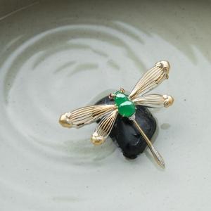 18K糯冰種陽綠翡翠蜻蜓胸針
