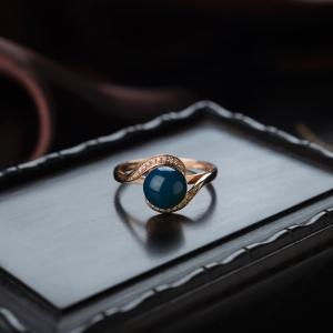 18K天空藍多米藍珀戒指
