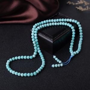 6mm高瓷蓝绿绿松石莲花珠多圈手串