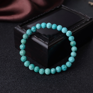 7mm高瓷蓝绿绿松石莲花珠单圈手串