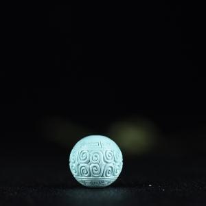 17.5mm中高瓷蓝绿松石回纹珠
