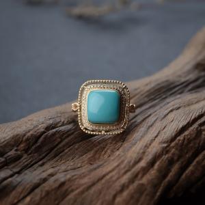 18K高瓷玉化蓝绿松石戒指
