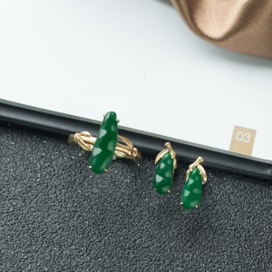 18K糯种深绿翡翠套装