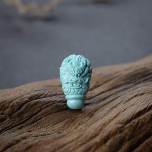 高瓷铁线蓝绿松石龙头三通