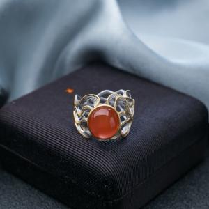 银镶冰红南红戒指