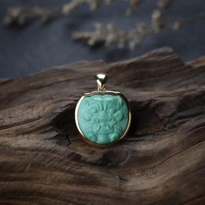 18K高瓷绿色绿松石貔貅吊坠