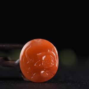 柿子紅南紅年年有余吊墜