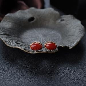 18K阿卡珊瑚耳釘