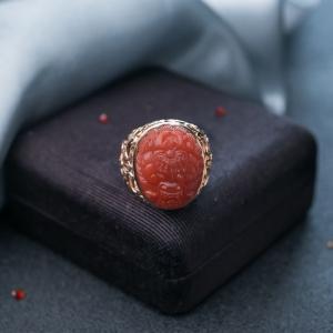 18K朱砂红南红龙头戒指
