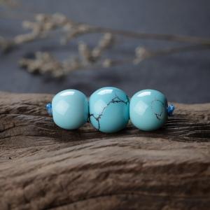 高瓷铁线蓝绿绿松石苹果珠配件