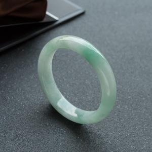55mm糯冰種淺綠翡翠平安鐲