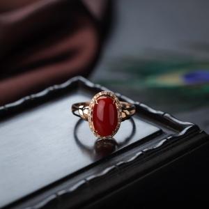 18K阿卡珊瑚戒指