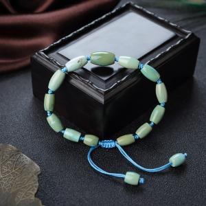 高瓷铁线黄绿绿松石桶珠单圈手串