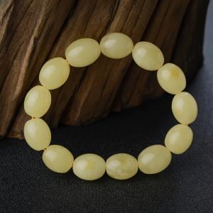 柠檬黄蜜蜡枣珠单圈手串