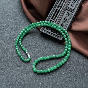 糯冰种翠绿翡翠塔链