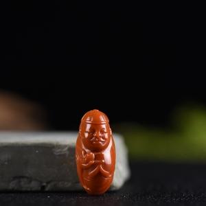柿子紅南紅小地主吊墜