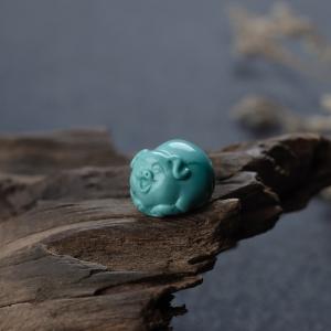 高瓷铁线蓝绿绿松石招财猪吊坠