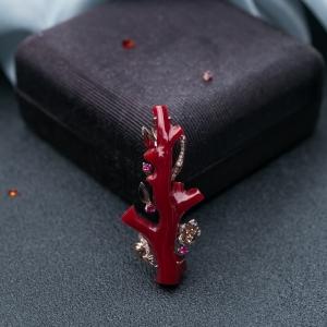 18K阿卡牛血紅珊瑚一枝獨秀吊墜