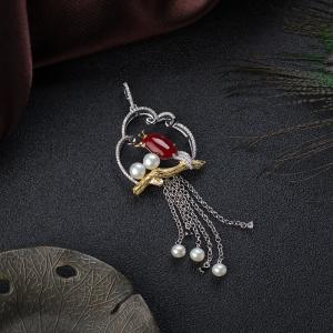 銀鑲阿卡牛血紅珊瑚吊墜