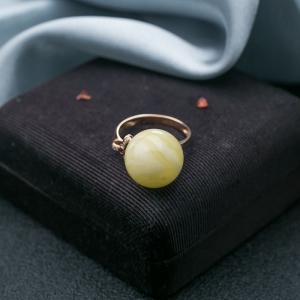18K白花蜜蜡圆珠戒指