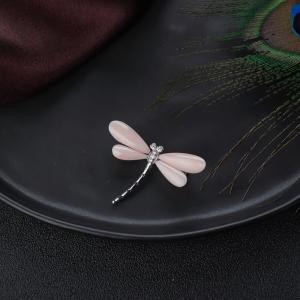 14K深水珊瑚蜻蜓吊坠/胸针两用款
