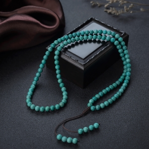 5.5mm中瓷铁线蓝绿绿松石108佛珠