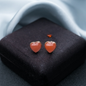 18K樱桃红南红心心相印耳钉