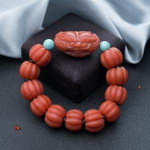 柿子红南红南瓜珠单圈手串