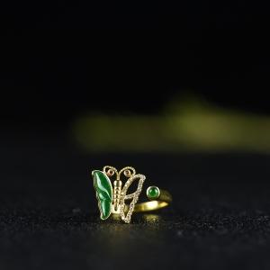 18K糯冰種綠色翡翠蝴蝶戒指
