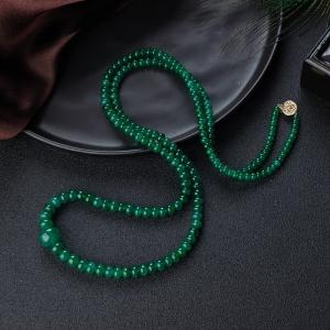 亮绿祖母绿鼓珠塔链